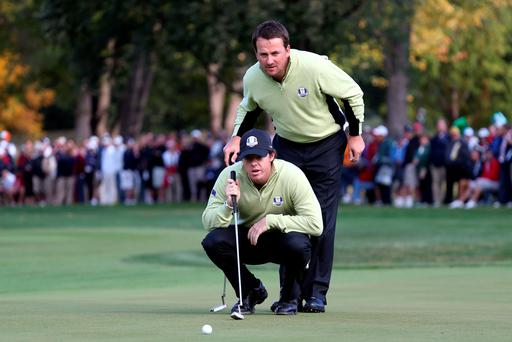 Graeme McDowell and Rory McIlroy during the Morning Foursome Matches for The 39th Ryder Cup at Medinah Country Club on September 28, 2012 in Medinah, Illinois.