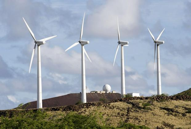 Wind turbines at the Ascension Auxiliary Airfield. Photo: Getty Images/Stocktrek