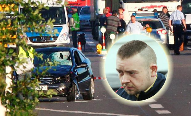 Photo of the scene of the accident in Germany where Enda McLaughlin (inset) died following a stabbing spree