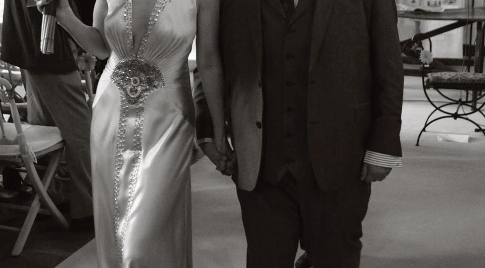 Maia Dunphy and Johnny Vegas on their own wedding day.