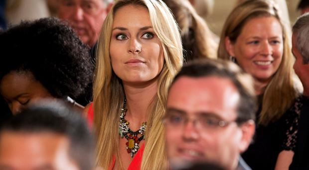 American World Cup alpine ski racer Lindsey Vonn, the girlfriend of Tiger Woods, attends a ceremony in the East Room of the White House.
