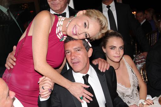 Antonio Banderas, Sharon Stone and Cara Delevingne partied together in Cannes last month