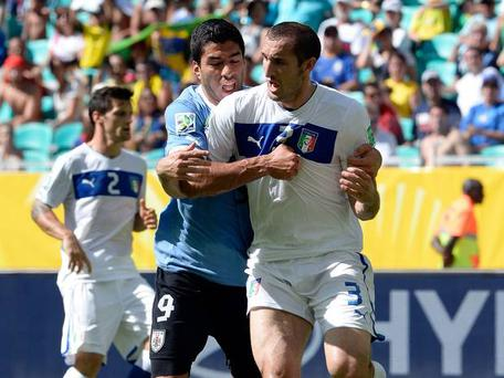 The pair clashed during a match between Uruguay and Italy at the 2013 Confederations Cup