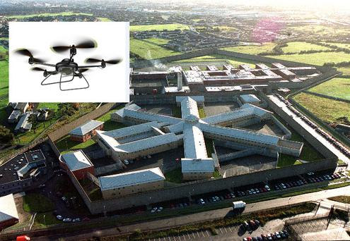 An aerial view of Wheatfield Prison, inset, a drone style helicopter like this one was used