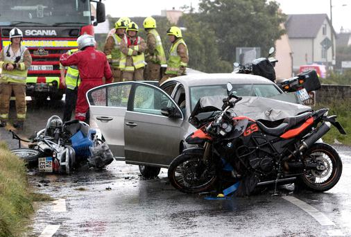 The scene of the collision in Doonbeg Co Clare where two motorcyclists were injured, one seriously, following a collision with a car. Picture:Press 22
