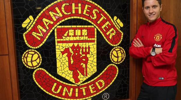 Ander Herrera poses in his Manchester United gear