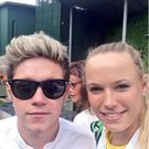 Niall Horan and Caroline Wozniacki take a selfie at Wimbledon