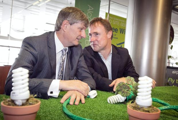ESB CEO Pat Doherty and DAA CEO Kevin Toland at the announcement that ESB and Dublin Airport Authority (DAA) have signed an innovative energy agreement which will see the two organisations collaborate to achieve a 30% energy saving at Dublin Airport