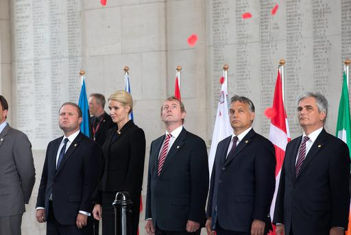An Taoiseach Enda Kenny pictured attending the 'Last Post' ceremony at the Menin Gate, Ypres before the EU leaders meeting as part of the European Council. Photo: Peter Cavanagh
