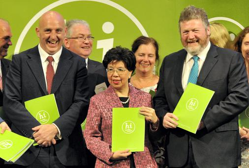 Pictured (l to r front row) is Keith Wood, Dr Margaret Chan, Director General WHO (World Health Organisation) and Minister James Reilly, TD at the appointment of Keith Wood as Chairperson of Healthy Ireland Council