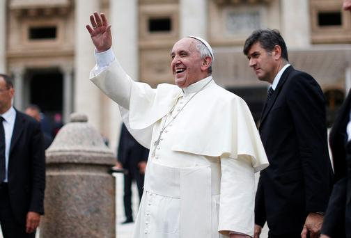 Pope Francis at yesterday's general audience in Rome. Reuters