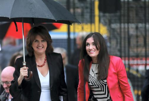 Minister Joan Burton and her daughter Aoife Carroll at the Labour Party Leadership Hustings at the Mansion House, Dublin. Picture: Arthur Carron