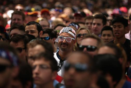Thousands of soccer fans gather in Dupont Circle Park in Washington to watch the Germany against USA World Cup match on large-screen televisions provided by the German Embassy. Photo: Chip Somodevilla/Getty Images