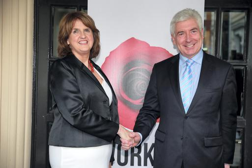 Minister Joan Burton and Minister Alex White at the Labour Party Leadership Hustings at the Mansion House, Dublin. Picture:Arthur Carron
