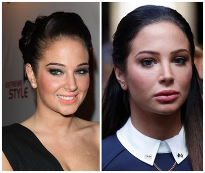 Tulisa in 2008 (left) and 2014 (right)