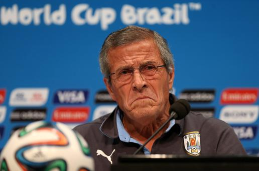 Uruguay manager Oscar Tabarez during the press conference at the Estadio do Maracana