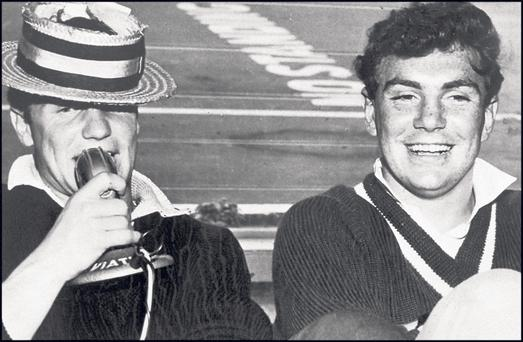 Tony O'Reilly, right, on the 1959 Lions tour to New Zealand