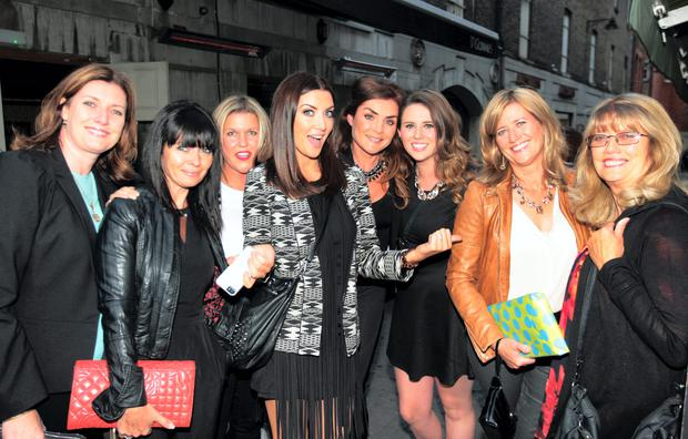 2FM's Jennifer Maguire arriving with family and friends.. for her party at Coppinger Row restaurant Picture: Ray Cullen