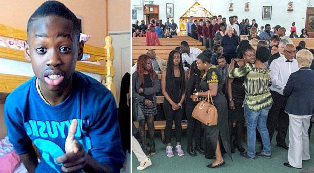 Teenager Ricky Osagie (left) who saved the lives of two girls in Blanchardstown is remembered as a true hero by friends and family at St Patrick's Church, Corduff