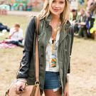 Laura Whitmore poses in the guest hospitality area during day 1 of the Glastonbury Festival at Worthy Farm on June 27, 2014 in Glastonbury, England. (Photo by Ian Gavan/Getty Images)