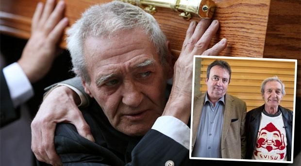 Birmingham Six member Paddy Hill carries the coffin of Gerry Conlon. Inset: The pair pictured together