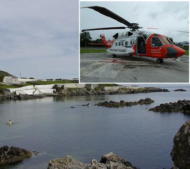 Inishowen Head and inset is an Irish Coast Guard helicopter