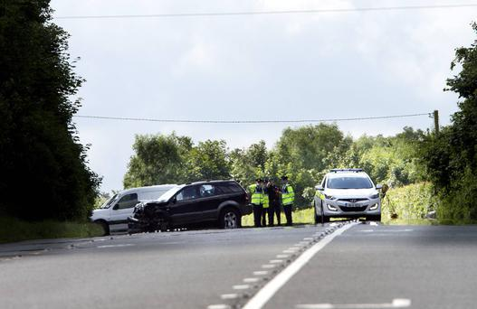 Scene of the fatal crash just outside Mullingar, which claimed four lives yesterday, the youngest victim just 10 years of age. Photo: Tony Gavin