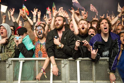 The crowd watch Metallica perform at the Glastonbury Festival, at Worthy Farm in Somerset.