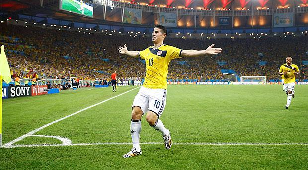 James Rodriguez celebrates after scoring a spectacular volley against Uruguay