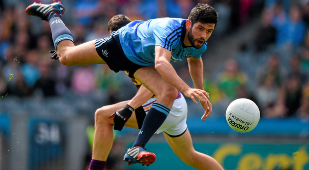 Dublin's Cian O'Sullivan in action against Graeme Molloy of Wexford during the Leinster Senior Championship, Semi-Final in Croke Park.
