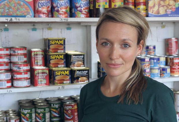 Western diet: Kate Quilton at a typical 'mom & pop' store, where many Marshallese people buy their weekly shop, in Majuro, the Marshall Islands