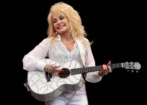 American country music star Dolly Parton performs on the Pyramid Stage at Glastonbury. Reuters