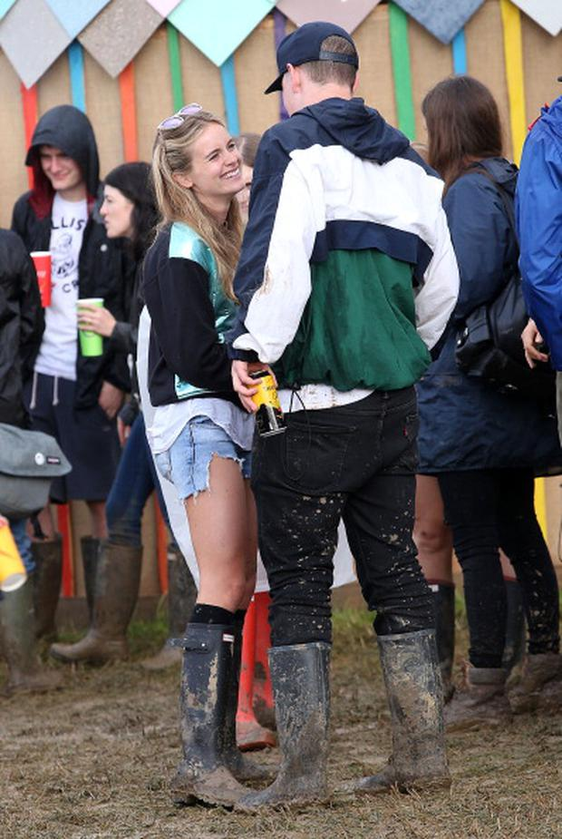 Cressida Bonas talks to actor Will Poulter at the Glastonbury Festival
