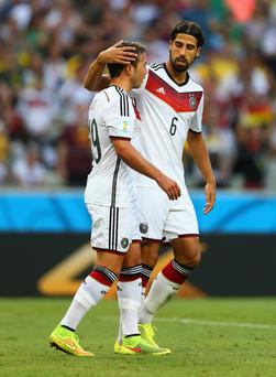 Mario Goetze and Sami Khedira of Germany
