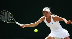 Caroline Wozniacki of Denmark during her Ladies' Singles fourth round match against Barbora Zahlavova Strycova of Czech Republic on day seven of the Wimbledon Lawn Tennis Championships at the All England Lawn Tennis and Croquet Club in London, England. (Photo by Dan Kitwood/Getty Images)
