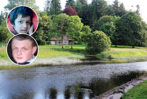 The body of Jonathan Mongan (bottom inset) was discovered at Killykeen Forest Park yesterday; Five-year-old Ahmed Bari (top inset) drowned yesterday morning in Dublin