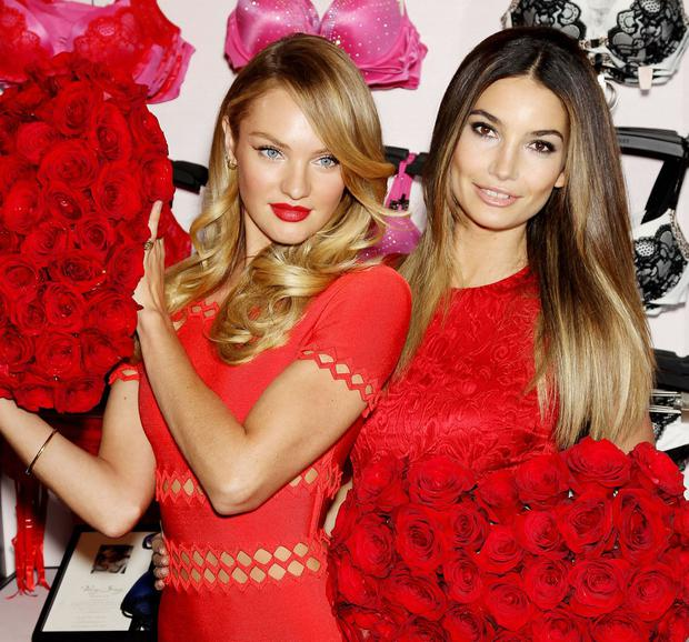 Victoria's Secret Angels Candice Swanepoel and Lily Aldridge Share Some Love for Valentine's Day