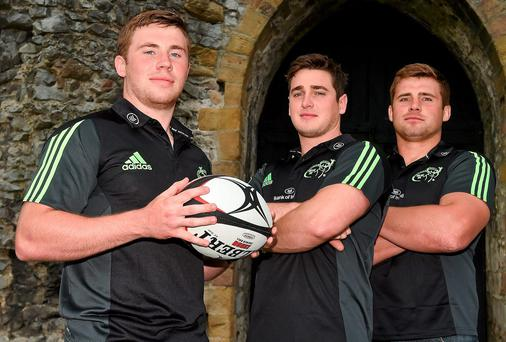 Munster players Luke 0'Dea, Ronan O'Mahoney and CJ Stander at King John's Castle in Limerick for the launch of the Limerick World Club Sevens. Picture credit: Diarmuid Greene / SPORTSFILE
