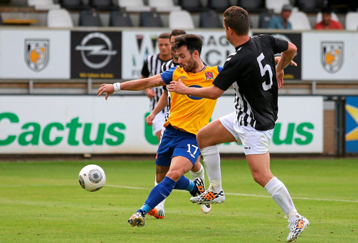 Dundalk's Richie Towell scores his side's second goal against Jeunesse Esch in the Europa League First Qualifying Round First Leg in Luxembourg.