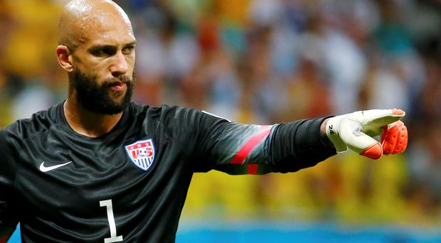 Goalkeeper Tim Howard of the U.S. gestures during their 2014 World Cup round of 16 game against Belgium at the Fonte Nova arena in Salvador