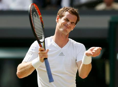 Andy Murray reacts during his men's singles quarter-final tennis match against Grigor Dimitrov