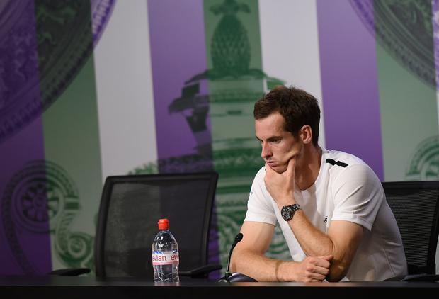 Great Britain's Andy Murray during a press conference after losing his Men's Quarter Final match against Bulgaria's Grigor Dimitrov during day ten of the Wimbledon Championships at the All England Lawn Tennis and Croquet Club, Wimbledon