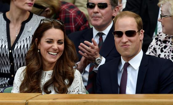 The Duke and Duchess of Cambridge in the Royal Box as they watch Great Britain's Andy Murray on Centre Court during day ten of the Wimbledon Championships at the All England Lawn Tennis and Croquet Club, Wimbledon