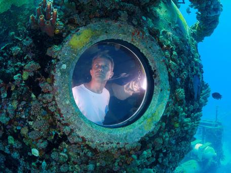 Fabien Cousteau is pictured inside the marine laboratory Aquarius. Cousteau, grandson of famed French oceanographer Jacques Cousteau, emerged from the turquoise waters off the Florida Keys, marking the end of a record-breaking, 31-day stay in an underwater habitat with a team of scientists and documentary filmmakers. The younger Cousteau, 46, along with two
