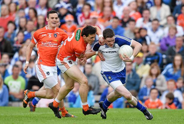 Conor McManus, Monaghan, in action against James Morgan, Armagh during last week's Ulster GAA Football Senior Championship, Semi-Final. Picture credit: Ramsey Cardy / SPORTSFILE