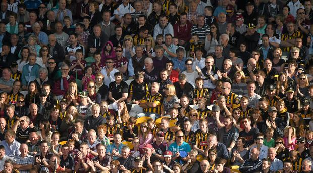 Kilkenny and Galway supporters watch the game in the main stand during the Leinster GAA Hurling Senior Championship at O'Connor Park, Tullamore, Co. Offaly. Picture credit: Ray McManus / SPORTSFILE