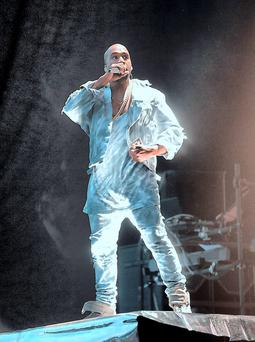 Kanye West performing in Marlay Park, Dublin. Picture: Caroline Quinn.
