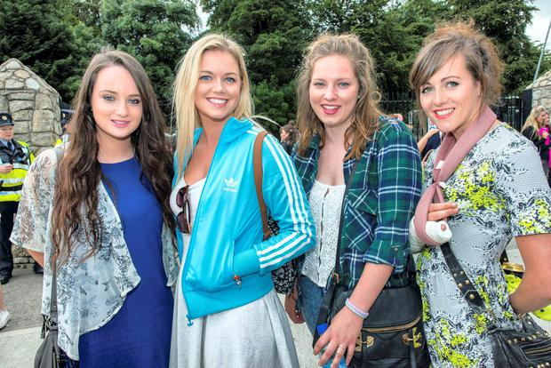 Aoibhinn and Katie Dempsey, Jenny Smith and Anna Moore from Laois at the Kanye West gig