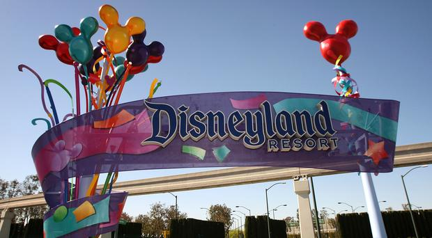 LOS ANGELES, CA: The entrance to Disneyland Resort in Anaheim, California.