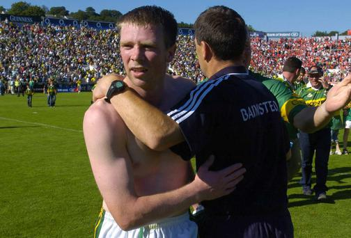Tomas O Se and Jack O'Connor celebrate Kerry's 2005 Munster final victory over Cork at Pairc Ui Chaoimh. Photo: Pat Murphy / SPORTSFILE